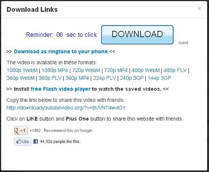 Yotube download links